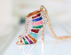 Fashion Crystal Colorful High Heeled Shoe Necklace! -  New Fashion Finds By Carole