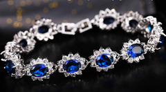 Luxury blue crystal bracelet, hand set, high quality, fashion -  New Fashion Finds By Carole