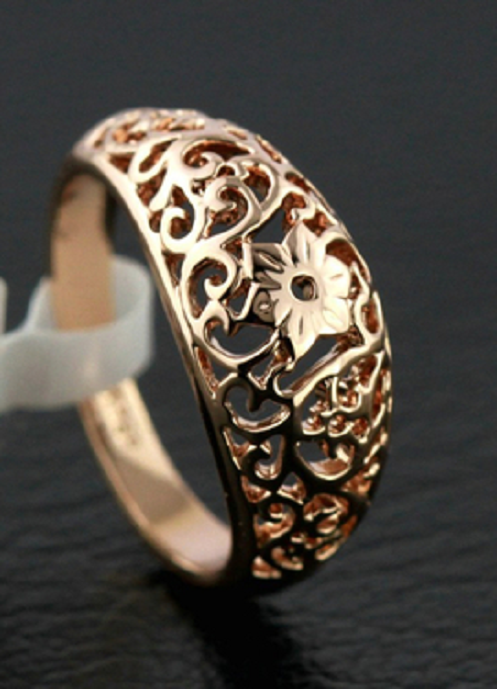 Vintage design 18K gold filled hollow floral ring -  New Fashion Finds By Carole