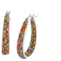 18Kt Rose Gold or White Gold Plated Multi Color Austrian Crystal Inside Outside Hoop -  New Fashion Finds By Carole
