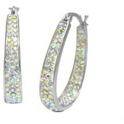 18Kt White Gold Plated Austrian Crystal Ab Color Inside Outside Hoop -  New Fashion Finds By Carole