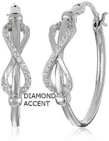 Huggy 18kt White Gold Plated Diamond Accent Infinity Earrings -  New Fashion Finds By Carole