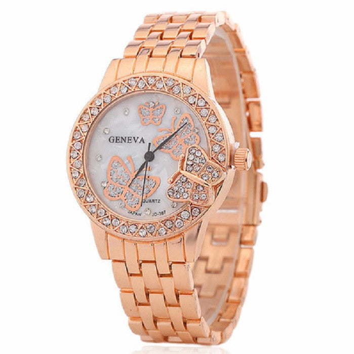 Women Beautiful Butterfly Inlaid Crystal Rhinestones Wristwatch