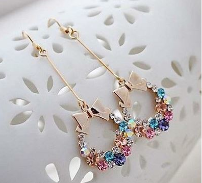 18K Rose Gold Plated Cubic Zirconia Earrings with highly polishes man-made white opal