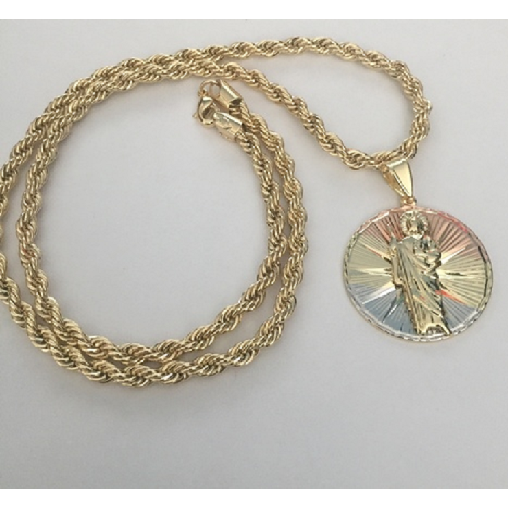 4c7fd1900a9 14K Tri Gold St Jude Pendant with Necklace – New Fashion Finds By Carole