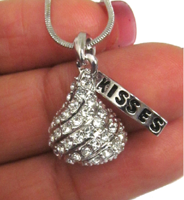 Nothing Says Kiss me like a white gold PLATED OVER STERLING SILVER KISS -  New Fashion Finds By Carole