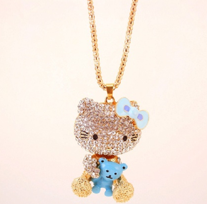 Large beautiful crystal rhinestone kitty with bear pendant chain large beautiful crystal rhinestone kitty with bear pendant chain necklace mozeypictures Image collections