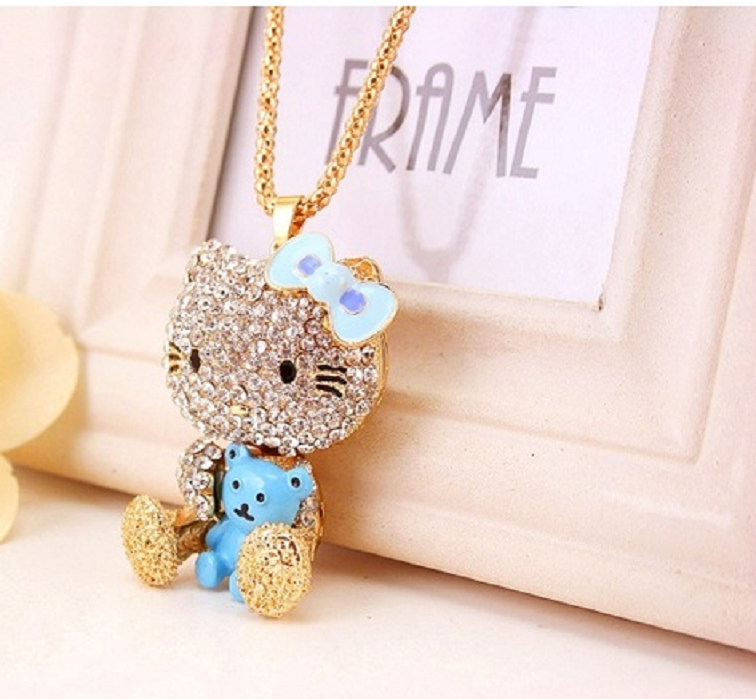 Large Beautiful Crystal Rhinestone Kitty With Bear Pendant & Chain Necklace -  New Fashion Finds By Carole