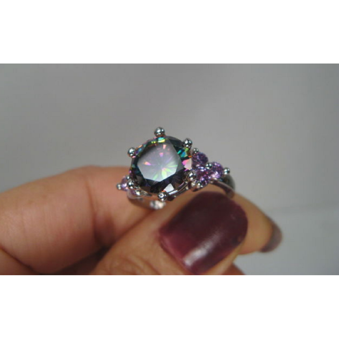 .925 STERLING SILVER PLATED PRISMA-LILAC CZ RING -  New Fashion Finds By Carole