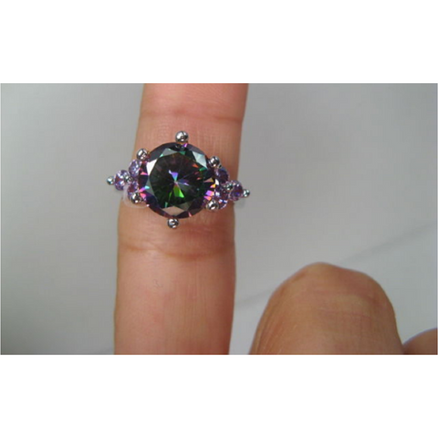 18K White Gold Plated White Fire Lab Created Opal & Genuine Mystic Topaz Ring