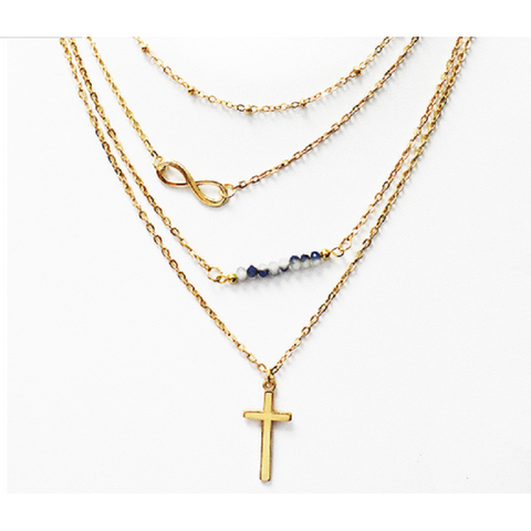 18kt Gold Plated Infinity Cross Charm Necklace with Swarovski Element Crystals -  New Fashion Finds By Carole