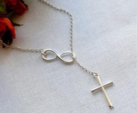 Religious necklace - Beautiful necklace with the sign of infinity and the cross -  New Fashion Finds By Carole