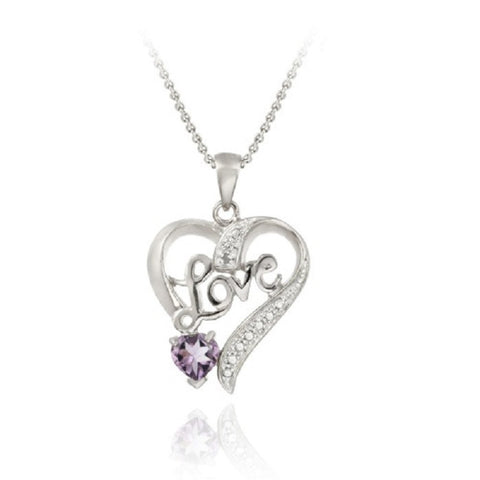 Sterling Silver Amethyst & Diamond Accent Love Heart Pendant