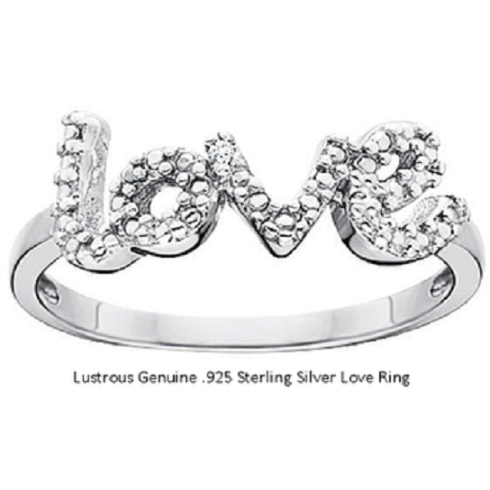 Adorable 'LOVE' Signature Ring 18kt White Gold over Sterling silver -  New Fashion Finds By Carole