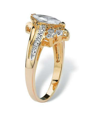 Yellow Gold Plated Classic Style Marquise Cut CZ Cluster Engagement / Wedding Ring -  New Fashion Finds By Carole