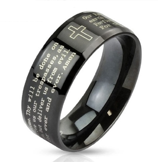 Cross Outline Lords Prayer Black Steel Ring -  New Fashion Finds By Carole