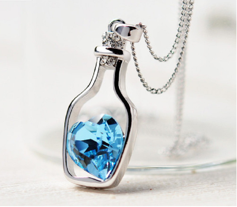 Love Drift Bottles Pendant Necklace Blue Heart -  New Fashion Finds By Carole