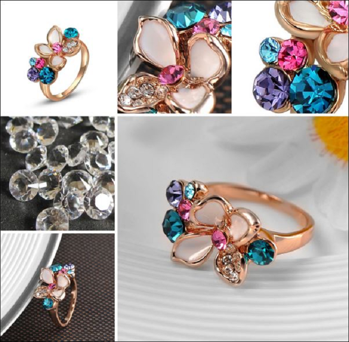 Exquisite Mosaic Colorful Rhinestone Flower Rings Trendy Jewelry Rose Gold Plated -  New Fashion Finds By Carole