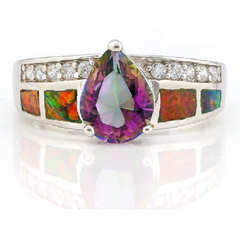 .925 Sterling Silver 3.21ctw Lab: Mystic Topaz, Opal & Cubic Zirconia Ring -  New Fashion Finds By Carole
