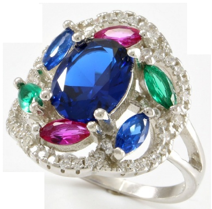 Ruby, Emerald, Blue & White Sapphire, Solid .925 Sterling Silver & 18k White Gold -  New Fashion Finds By Carole