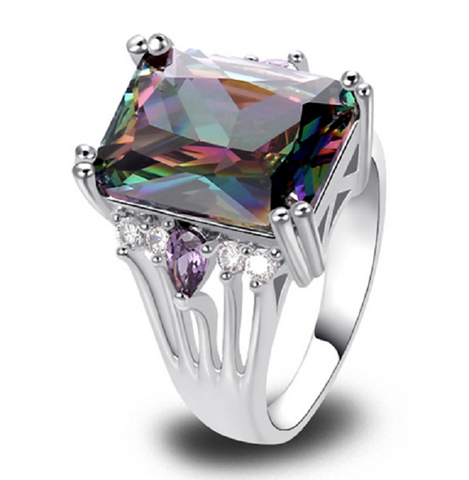 Gorgeous Genuine 10ct Rainbow Topaz Sterling Silver Ring -  New Fashion Finds By Carole