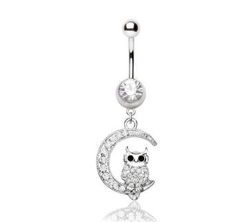 Stainless Steel Sparkling Owl on the Moon Belly Button Navel Ring -  New Fashion Finds By Carole