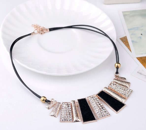 Black and Gold Statement Necklace -  New Fashion Finds By Carole