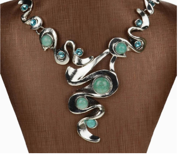 Dramatic Turquoise Bib necklace in Tibetan silver -  New Fashion Finds By Carole