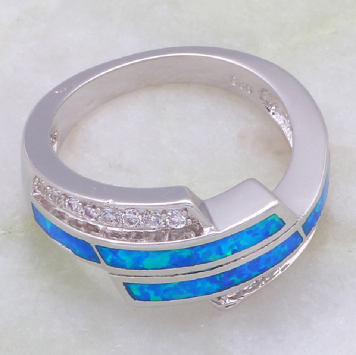 Latest Design Women's rings White Cubic Zirconia blue Fire Opal .925 Sterling Silver -  New Fashion Finds By Carole