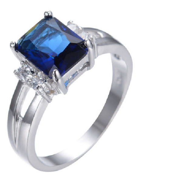 Blue CZ White Gold plated beautiful Ring -  New Fashion Finds By Carole