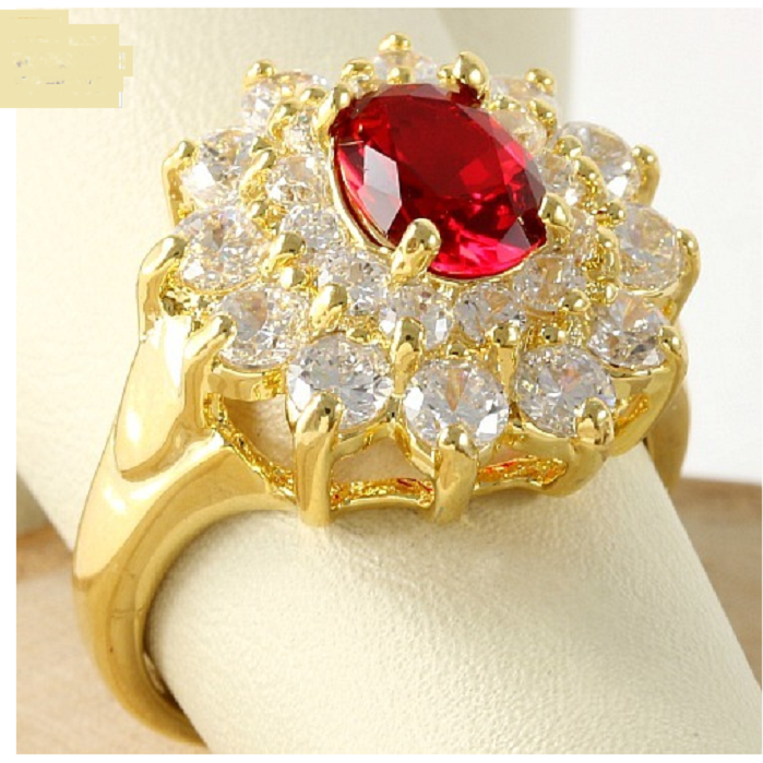 3.50ctw Red & White Italian CZ's (AAA Grade), 3x18k Gold Dipped Lead Free -  New Fashion Finds By Carole