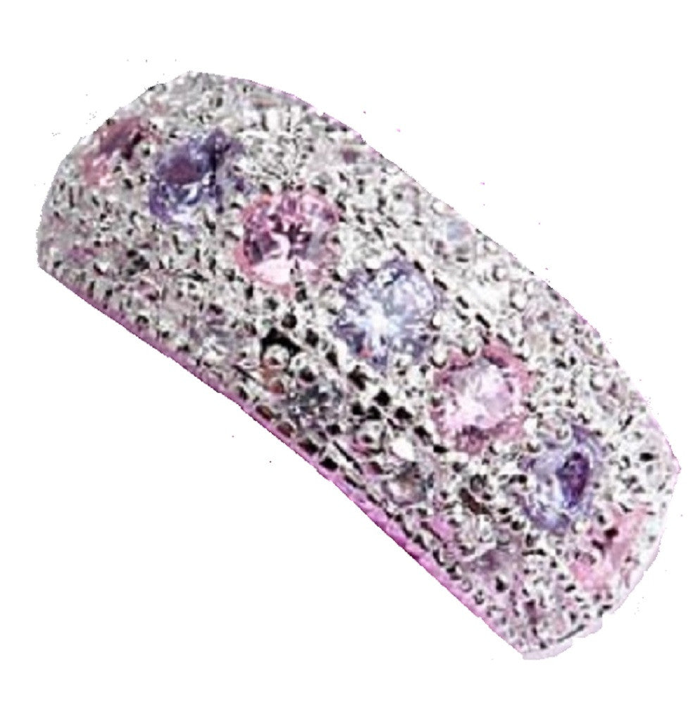 Noble Amethyst & pink Topaz Gemstones .925 Sterling Silver Ring -  New Fashion Finds By Carole