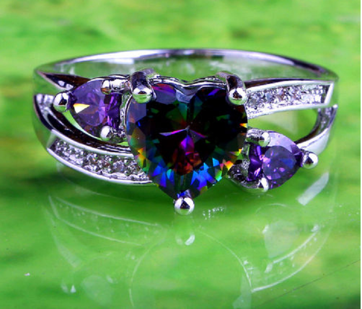 Noble Silver Rainbow & Purple Hearts CZ Ring -  New Fashion Finds By Carole