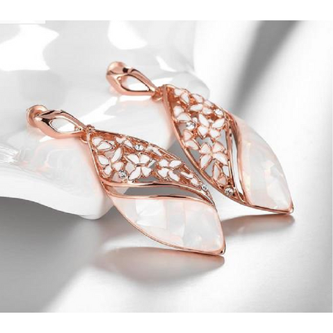 18K Rose Gold Plated Cubic Zirconia Earrings with highly polishes man-made white opal -  New Fashion Finds By Carole