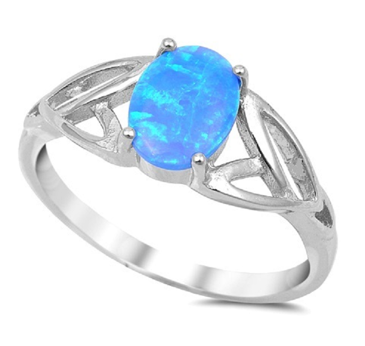 Solid 925 Sterling Silver Blue Lab-Opal Ring -  New Fashion Finds By Carole