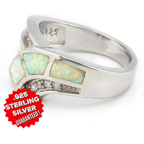 .925 Sterling Silver 2.00ctw White lab Opal and lab White Sapphire Ring -  New Fashion Finds By Carole