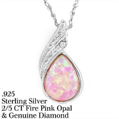 0.41ctw Fire Pink Opal & Genuine Diamond Solid .925 Sterling Silver & 18k White Gold Necklace -  New Fashion Finds By Carole