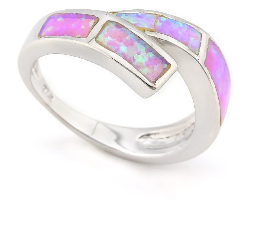 Solid .925 Sterling Silver, 3.00ctw Pink Lab Opal Ring -  New Fashion Finds By Carole