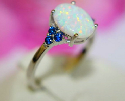 Genuine SOLID .925 STERLING SILVER~Lab White Fire Opal Rg -  New Fashion Finds By Carole