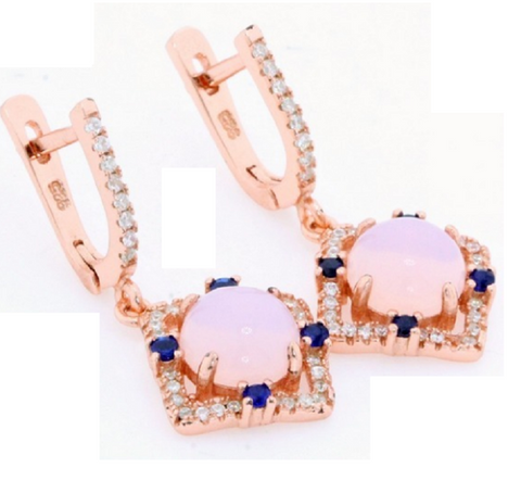 Solid .925 Sterling Silver & 18k Rose Gold, Cabochon Opal, Blue & White Sapphires -  New Fashion Finds By Carole