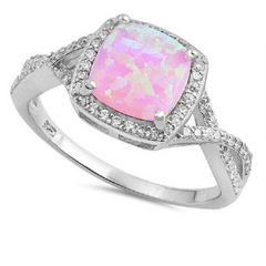 .925 Sterling Silver Pink Opal (lab) Cushion Cabochon Ring -  New Fashion Finds By Carole