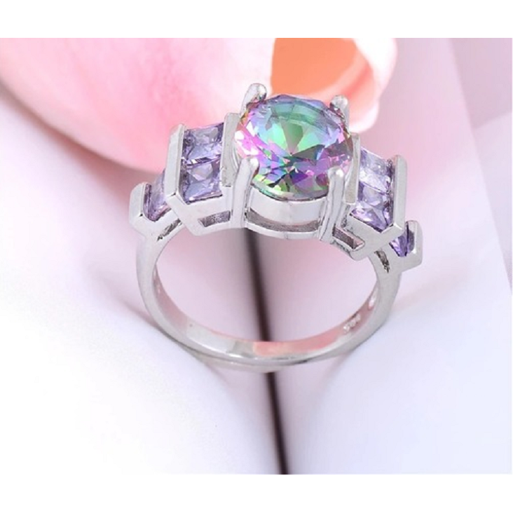 jewelry silver mystic rings gemstone b topaz wedding work fine ring