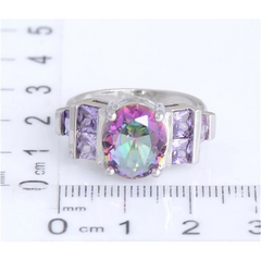 18K White Gold Plated Oval cut Mystic Topaz 3.2ct ring -  New Fashion Finds By Carole