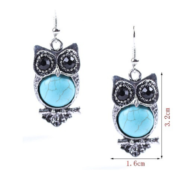 Burnished Silver Style Turquoise Owl Earrings -  New Fashion Finds By Carole