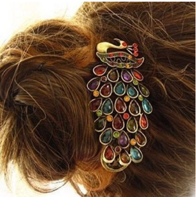Gorgeous Antique-Style Peacock Hair Clip -  New Fashion Finds By Carole