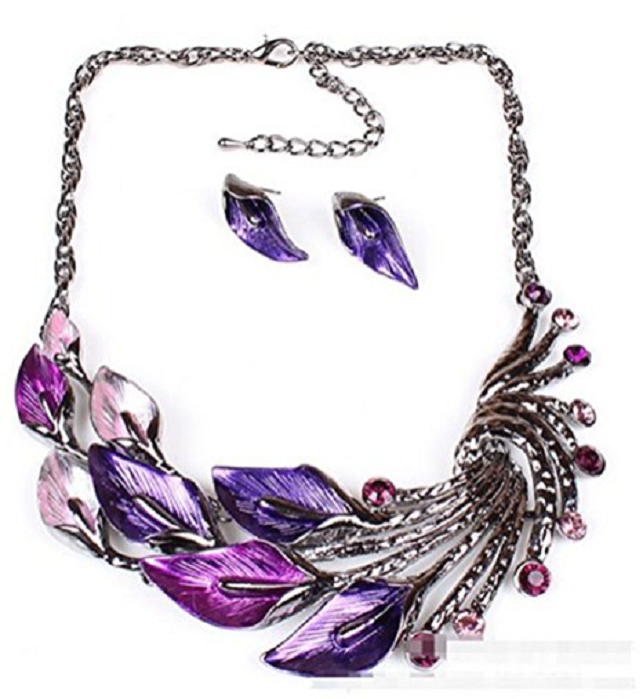 Elegant Women's Purple Peacock Enamel Festoon Bib Necklace Stud Earrings Set -  New Fashion Finds By Carole