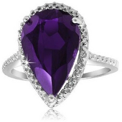 5-Carat Genuine Amethyst & Diamond Accent Pear-Shaped Ring in Sterling Silver -  New Fashion Finds By Carole
