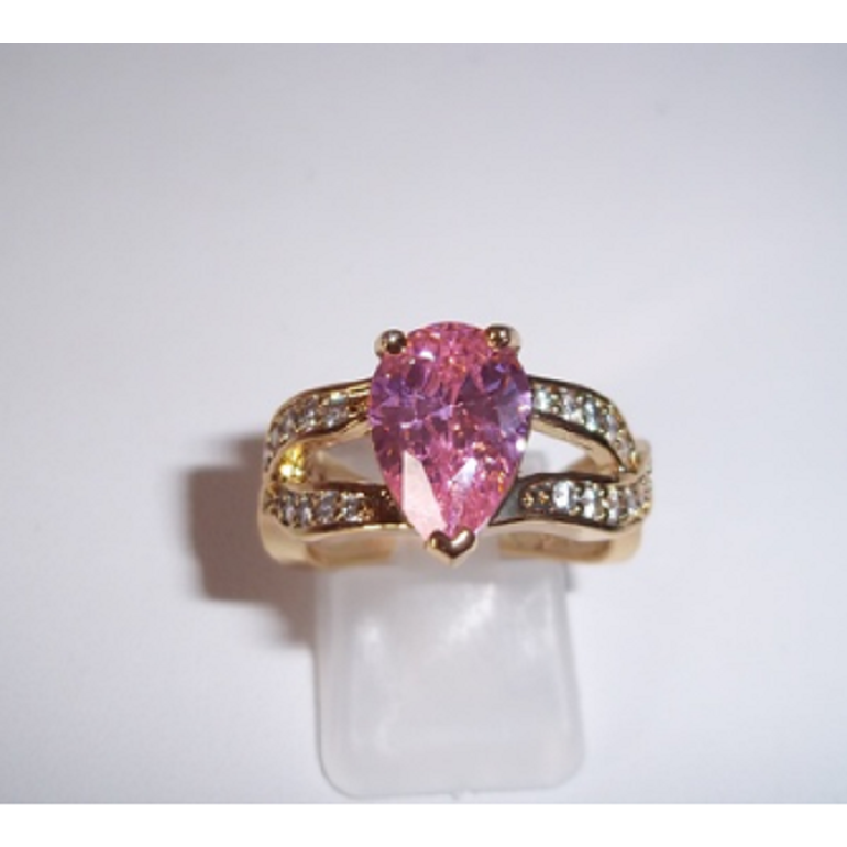 4 CT Pink with CZ's  18KT Yellow gold Filled -  New Fashion Finds By Carole