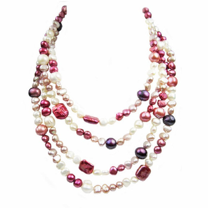 Long Rope Multi-Colored and Shape Genuine Pearl Women Necklace (64 Inches) -  New Fashion Finds By Carole