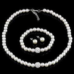 14KT High Quality white gold plated white Zircon Necklace Earring bracelet Pearl Jewelry Set -  New Fashion Finds By Carole